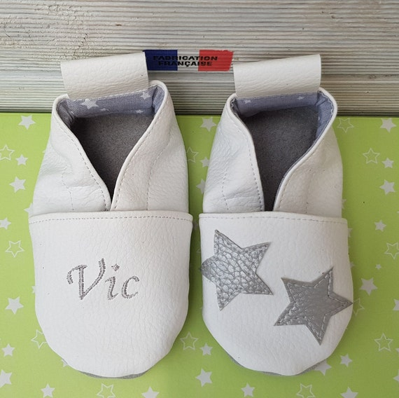 Soft leather, faux leather, baby slipper, boy's slipper, girl's slipper, child's slipper, custom slipper, stars
