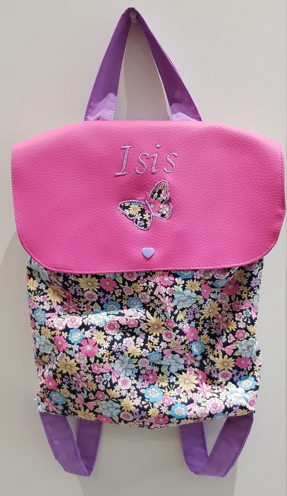 Backpack nursery / kindergarten imitation leather and cotton flower limited edition