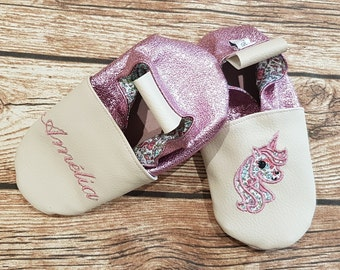 Soft slippers leather, unicorn, sequin, to customize
