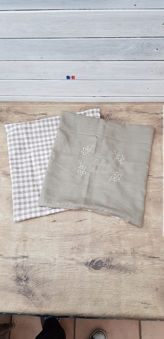 Pillow case, cotton cover, pillow, decorative cover, cover linen cover, embroidered, personalized family