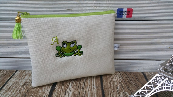 Custom frog and first name pouch