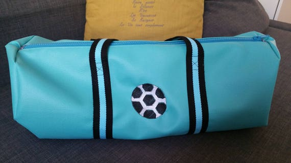 Duffel bag, faux leather, sports, weekend bag football embroidered, personalized
