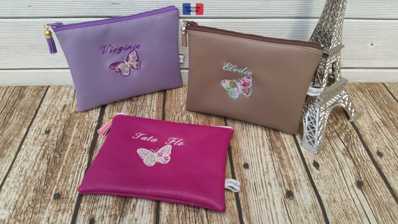 Personalised pouch, butterfly liberty and first name