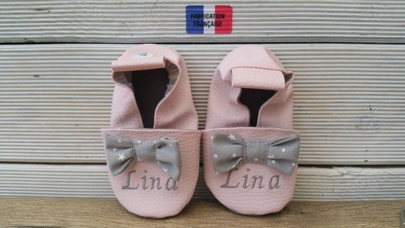 Soft leather and faux leather slippers, baby slipper, boy's slipper, girl's slipper, child's slipper, knot, custom slipper