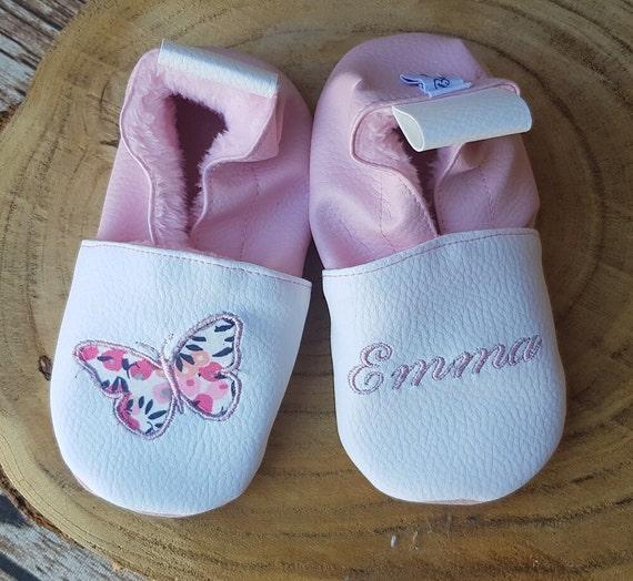 Soft slippers butterfly leather, children's slipper, personalized slipper, fleece line
