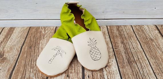 Soft leather slippers, faux leather, boy slipper, girl slipper, adult slipper, custom slipper, pineapple and palm tree