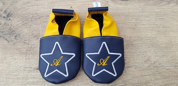 Soft leather slippers, faux leather, baby slipper, boy slipper, child shoe, custom slipper, star and initial
