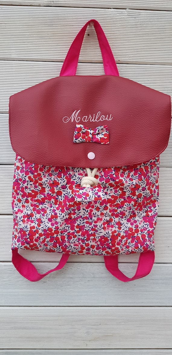 Backpack crèche / kindergarten imitation leather and cotton liberty limited edition