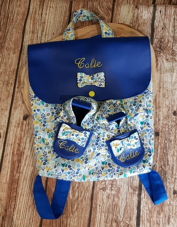 Backpack nursery / kindergarten imitation leather and cotton limited edition