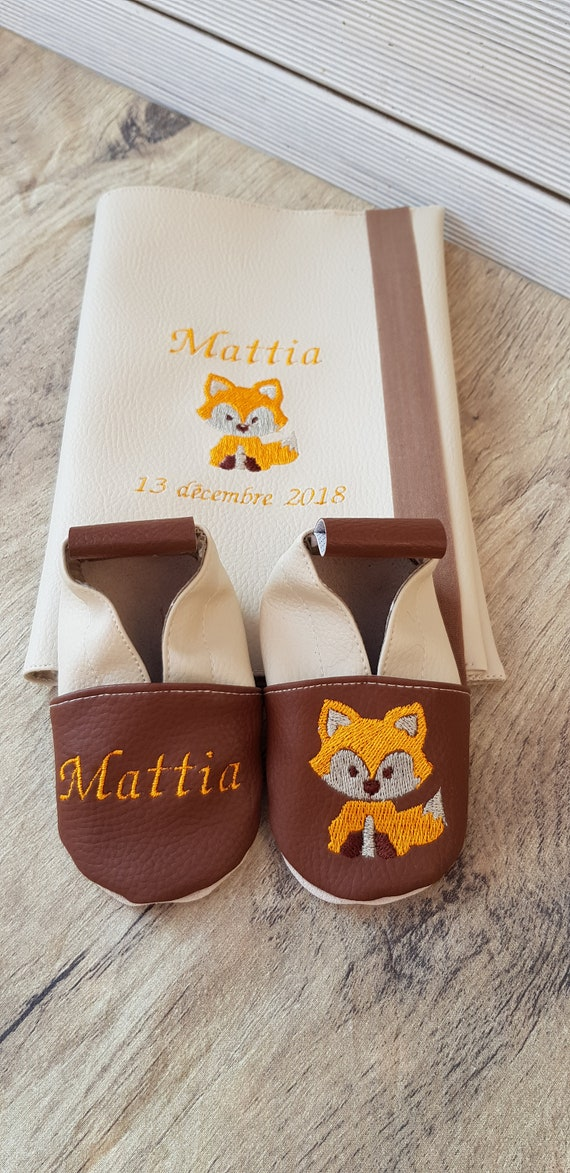 Slippers and protects health book, fox, Birth gift to customize
