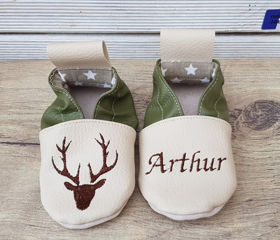 Soft leather, faux leather, beige and khaki slippers, deer head, to customize