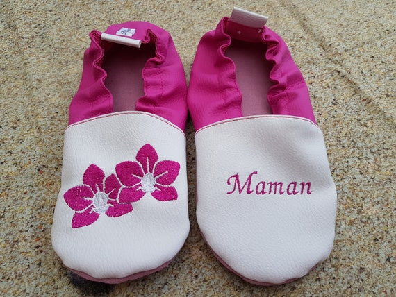 Soft leather slippers, faux leather, adult slippers, grannies' party, Mother's Day, flowers
