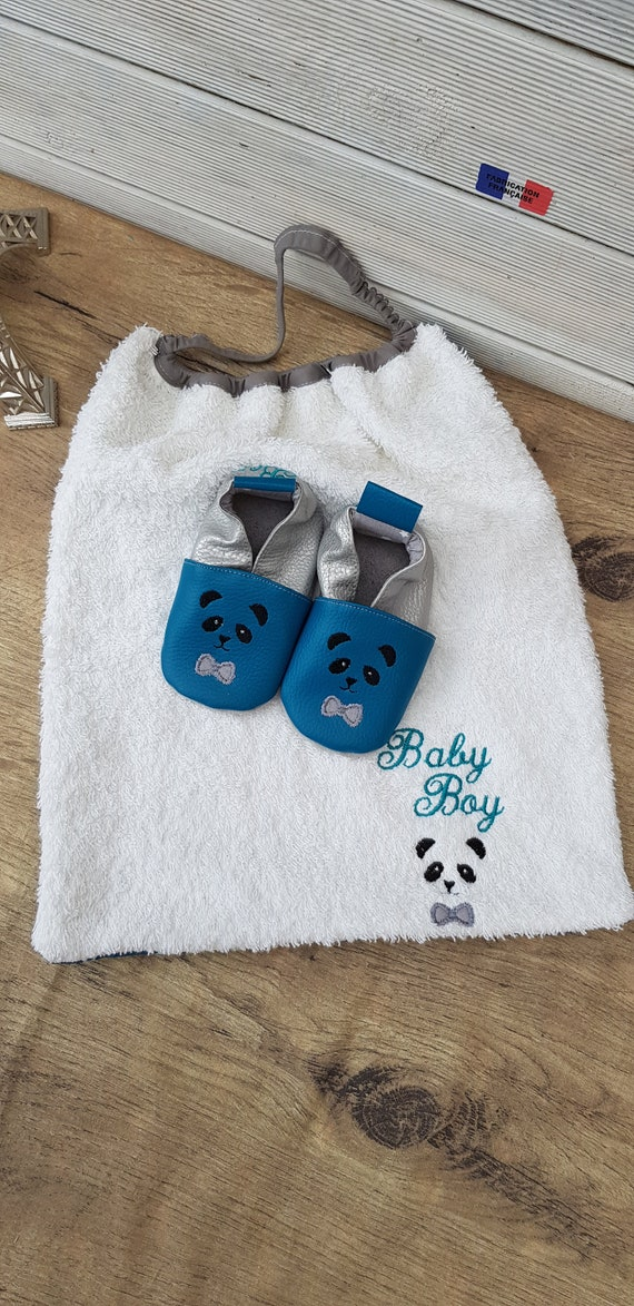 Birth Pack to personalize: slippers and bib, oil and silver blue,