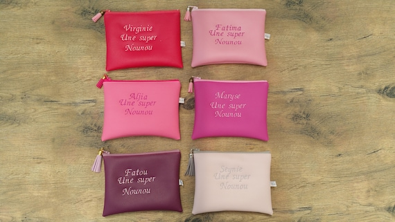 Leather faux woman pouch, master clutch, mom clutch, handbag clutch, embroidered, personalized (sold on a unit basis)