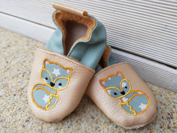 soft slippers fox, leatherette soft slippers, leather soft slippers