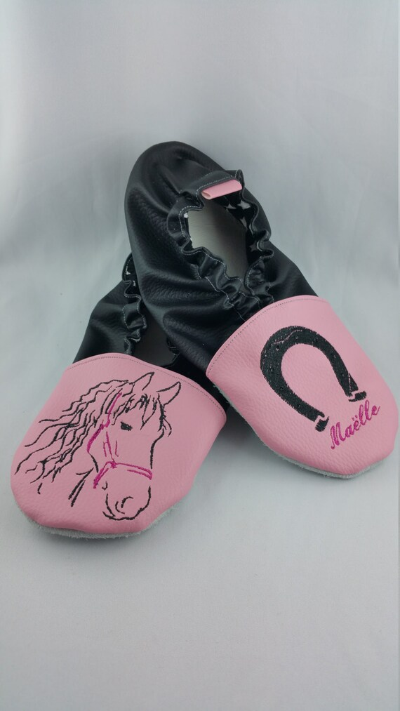 Soft slippers, leather, horse and horseshoe