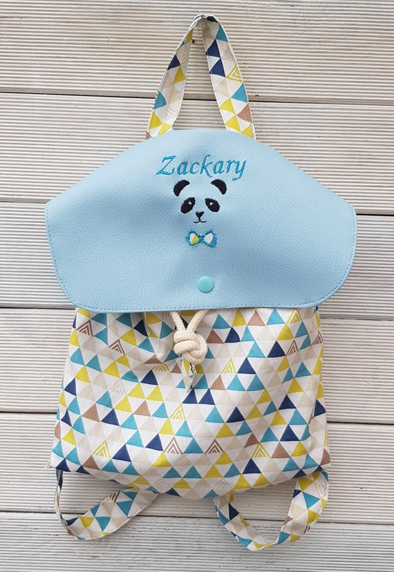 Backpack crèche / kindergarten imitation leather and cotton triangle limited edition