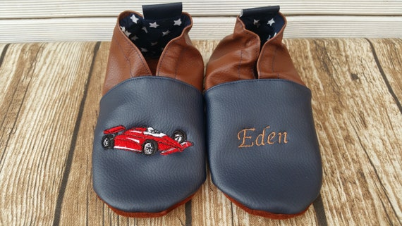 Soft leather, faux leather, baby slipper, boy's slipper, girl's slipper, child's slipper, custom slipper, formula 1