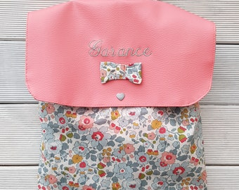 Backpack nursery / kindergarten imitation leather and cotton liberty betsy porcelain limited edition