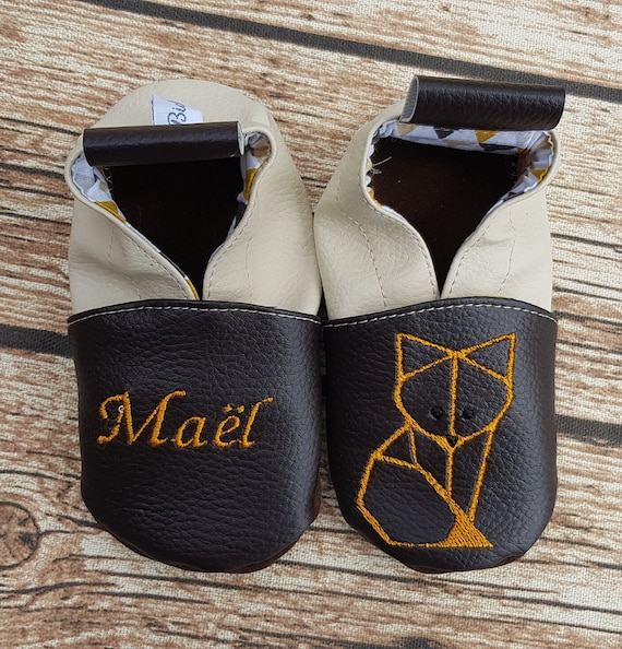 Soft leather slippers, baby slipper, child, personalized slipper, fox