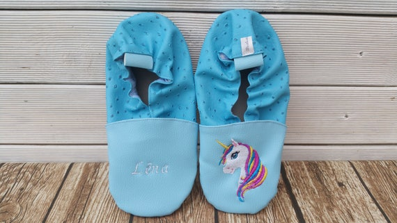 Soft leather slippers, faux leather, baby slipper, boy slipper, girl slipper, child slipper, custom slipper, unicorn