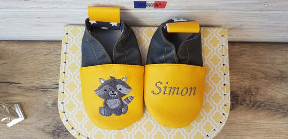 Soft leather slippers, faux leather, baby/child slipper, raccoon