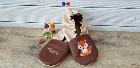 Soft leather slippers, faux leather, adult slippers, grannies' party, Mother's Day, fox