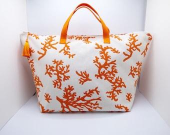 Travel bag, coral orange