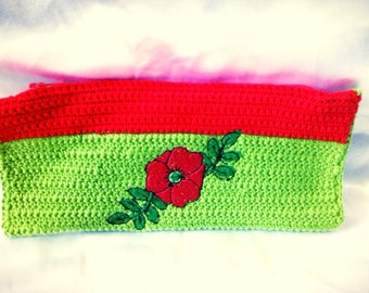 Pouch / clutch, poppy red and green cotton