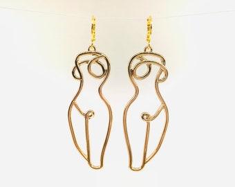 art earings Wire body art earrings Face earrings Nude body earings wire art earings gold color earings,gold wire earrings