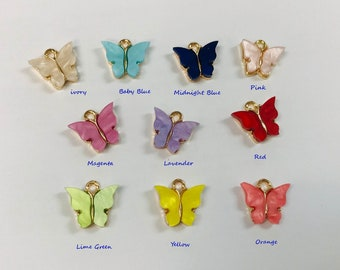 10 ACRYLIC BUTTERFLY CHARMS ON BAILS