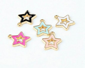 Small Charms Alloy Charm Pendant Earring Charms,Jewelry Charms for Earring Necklace Making 20PCS Enamel Star Charms