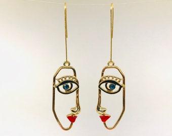 HOT LONG HOOK Picasso Earrings, Face Earrings , Statement Art Earrings, Abstract Hollow Face Earrings, Red Lips Face Gift, Modern Art Gift