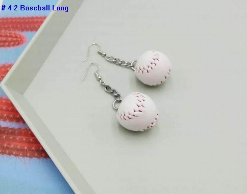 Baseball Charm Earrings Leather Baseball Earrings Baseball Gifts Softball Earring gifts Baseball Jewelry Baseball Bat Earrings
