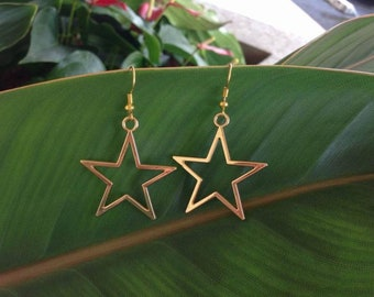 Gold Star Earrings, Geometric Dangle Star Earrings,Star Hoop Earrings, Wire Star Hoop Earrings,Wire Star Earrings