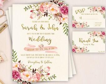 Hochzeit Einladung Boho Hochzeit Einladung Druckbare Hochzeit Etsy