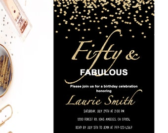 50th Birthday Invitation Fifty And Fabulous Invites Gold Black Confetti Party