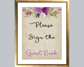 please sign the guest book bridal shower sign wedding guest book flower sign wedding sign guest book sign rustic bride sign printable