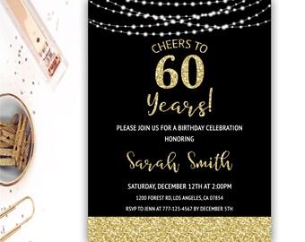 60th birthday invitations etsy