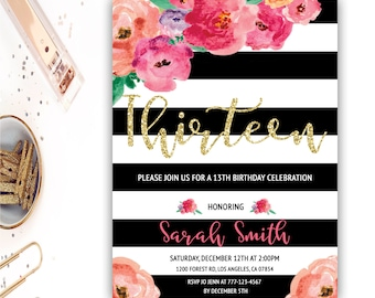 13th Birthday Invitation Floral Thirteenth Party Watercolor Flowers