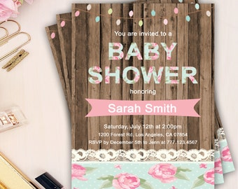 baby shower invitation, rustic baby shower invitation, girl baby shower invitation, rustic floral baby shower invites, floral baby shower