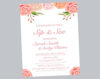 sip & see invitation, sip e see shower, baby shower invitation, sip and see invitation, flower baby shower, flower invitation,