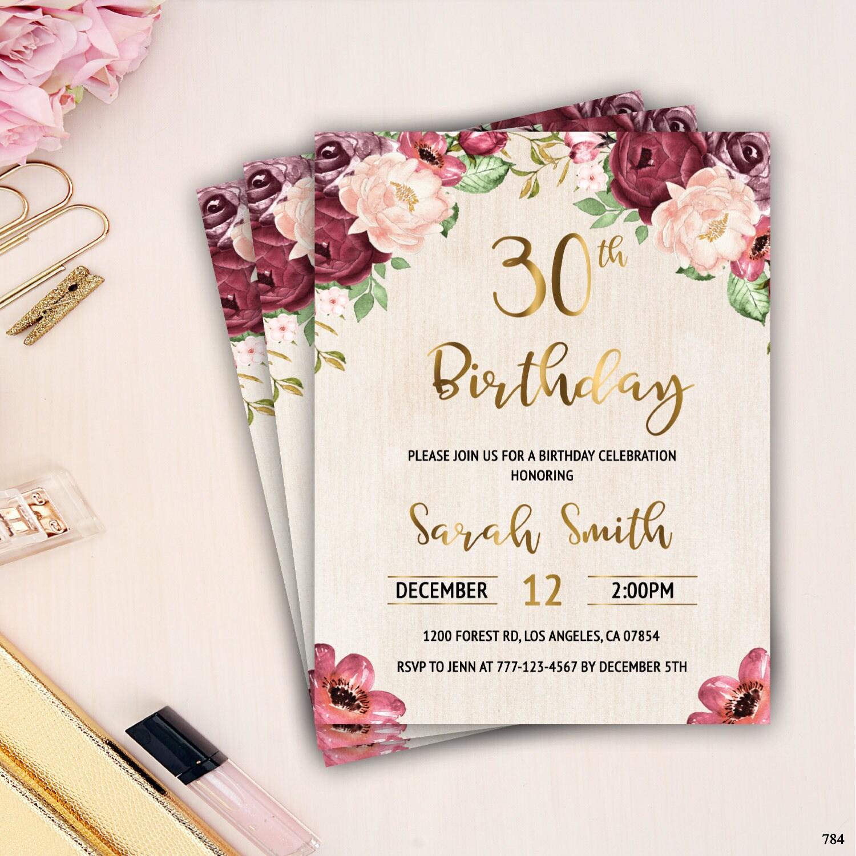 30th Birthday Invitation Female Adult Birthday Invitation Etsy