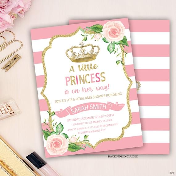 Royal Princess Baby Shower Invitation Princess Invitation Etsy