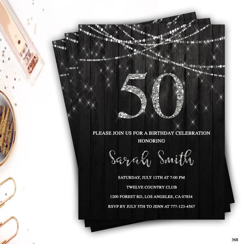50th Birthday Invitation Rustic