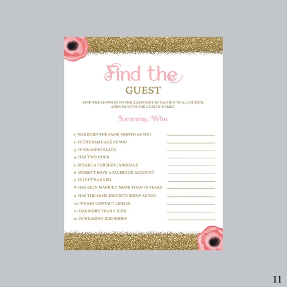 Find The Guest Bridal Shower Game Pink And Gold Bridal