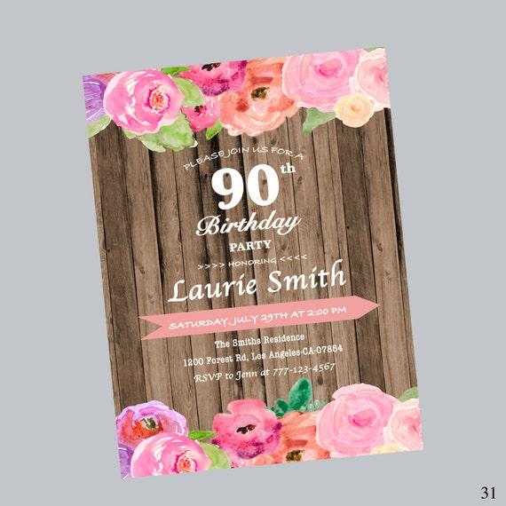 90 Cie Zaproszenie Urodzinowe Kwiatowe Zaproszenie Na Etsy
