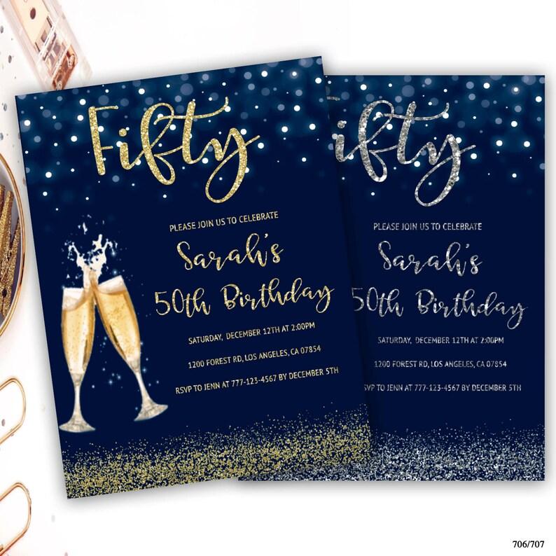 50th Birthday Party Invitation Champagne Glass Invite Glitter 21st 30th 40th 60th 70th 80th 90th