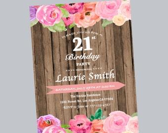 21st birthday invitation, watercolor birthday invite, rustic birthday invite, twenty one birthday invite, 21st birthday celebration, 50th
