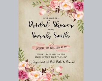 rustic boho bridal shower invite, bohemian peony bridal shower invitation, rustic floral bridal shower invitation, wedding invites bohemian